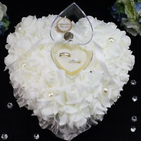 Wedding Ceremony Ivory Satin Crystal Ring Bearer Pillow Cushion Ring Pillow Hot#