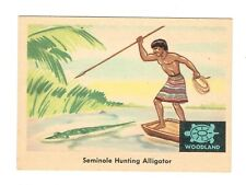 1959 Fleer Indians Seminole Hunting Alligator trading card #35 grades Excellent