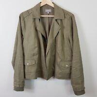 [ SUSSAN ] Womens Khaki Zip up Linen Jacket  | Size AU 12 or US 8