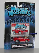 Muscle Machines Double Logo 1963 Chevrolet Corvette 63 Chevy Vette 1:64