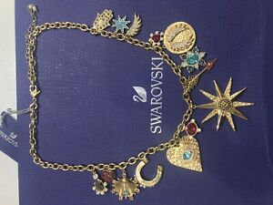 "SWAROVSKI ""LUCKY GODDESS CHARMS NECKLACE"", MULTI-COLORED, GOLD-TONE PLATED BOX"