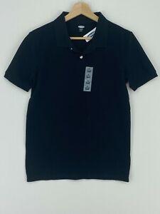 Old Navy Pique Polo Shirt Boys XL (14-16) Black Uniform Built in Flex