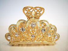 Gold metal crystal crown hair claw clip bridal clip medium/fine hair