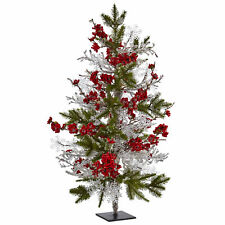 "Small Artificial 26"" Plum Blossom Red Flowers & Ice Snowflakes Holiday Pine Tree"