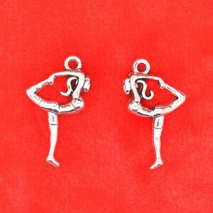 8 x Tibetan Silver 3D Gymnast Sport Gymnastics Charm Pendant