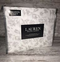 RALPH LAUREN Extra Deep Fitted QUEEN Sheet Set White with Gray Flowers