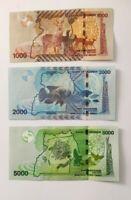 Uganda 1000 + 2000 + 5000 Shillings 2015-17 Set of 3 Banknotes 3 PCS UNC