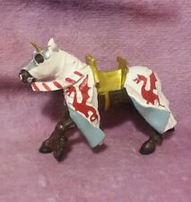 Plastoy Medieval Castle Knight's Black Horse Figure Toy - Red Dragon Outfit
