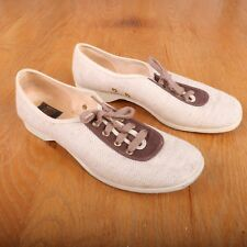 Brunswick White & Brown Tweed Lace Up Bowling Shoes Women's 70M