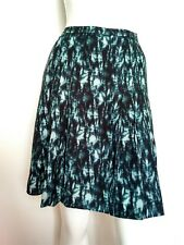 JIGSAW leaf print skirt size 12 --BRAND NEW-- pleat  blue fully lined
