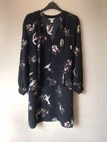 H&M Black Bird & Floral Print Long Sleeve Smock Dress With Tie Neck Size UK 8