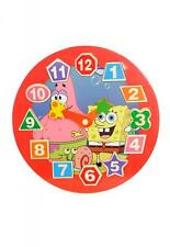 Children Wooden Clock Toy Puzzle Educational Pre School Nursery Sponge Bob
