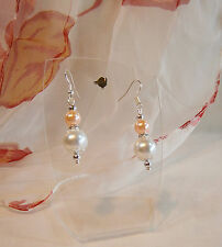 Classy Style Bridal White Pale Peach Glass Pearl Crystal Pierced Earrings Bride