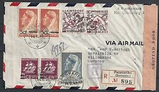 Surinam 1945 NVPH Airmail 24fa INVERTED Ovpt cens cover