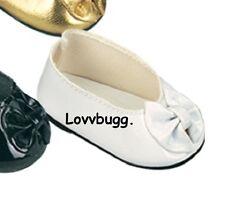 "White Bow Flats Shoes for American Girl 18"" 18inch Doll Dress Communion LOVVBUGG"