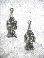 New 3D Robed Wizard Solid Detailed Charms Dangling Usa Cast Pewter Earrings