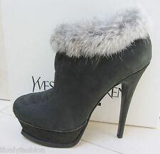 NIB YSL Yves Saint Laurent TRIBUTE 105 Ankle Fur Suede Zip Booties Shoes 37