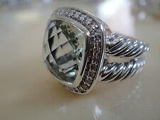 DAVID YURMAN ALBION PRASIOLITE (SAGE) DIAMOND ICE RING