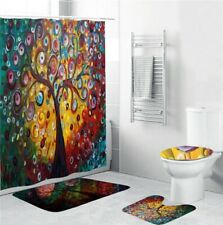 Hippie Colorful Tree Pattern Bathroom Shower Curtain Bath Mats Toilet Rug Decor