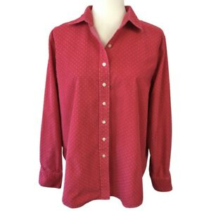 Lands End Womens Red Corduroy Button Up Top Size L Polka Dot