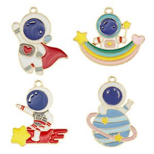 8pcs Colorful Mixed Space Astronaut Charms Comet Meteor Pendant Jewelry Making
