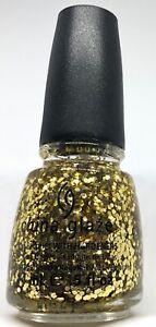 China Glaze Nail Polish SOLAR FLARE 841 Shiny Gold Large Hexagon Glitter Lacquer