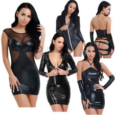 Womens Lingerie Patent Leather Bodycon Dress Clubwear Party Fancy Dress Catsuit