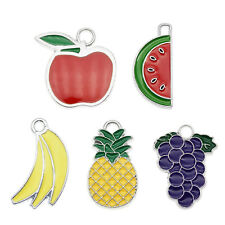 10pcs Colorful Enamel Pineapple Grapes Fruits Pendant Charms Jewelry DIY Crafts