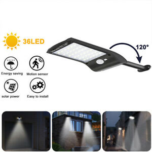 36 LED Solarleuchte mit Bewegungsmelder Außen Fluter Gartenstrahler Solar Lampe