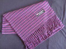 100% Cashmere Winter Scarf Scarve Scotland Warm Houndstooth Purple Black Shawl