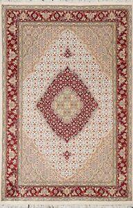 IVORY Geometric Tebriz Wool/ Silk Hand-knotted Area Rug Traditional 4'x6' Carpet