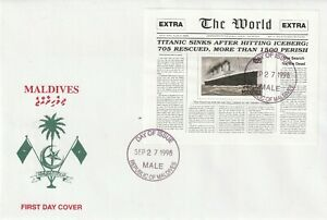 MALDIVES 27 SEPTEMBER 1998 RMS TITANIC MINIATURE SHEET FIRST DAY COVER