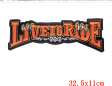 LARGE LIVE TO RIDE BIKER BACK PATCH.(ORANGE,WHITE,BLACK) SEW OR STICK ON  PATCH