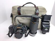 CANON T50 SLR 35mm Camera, KIRON 80-200 Lens SUNPAK Auto 266D Flash Diamond Case