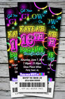 Sweet 16th GLOW in the Dark Theme NEON DISCO Birthday Party Invitation TICKET