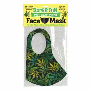 Pot Leaf Green & Black 420 Mask Knit Jersey 😷 Novelty Accessory Washable Reuse