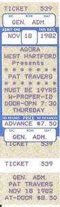 PAT TRAVERS 1982 UNUSED TICKET Agora WEST HARTFORD CT