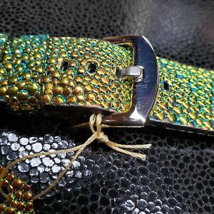 20 mm chameleon gold  stingray embossed watch band, genuine leather, handmade