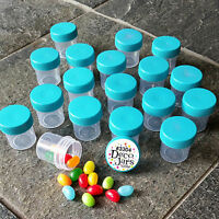 "12 EZ grip 1 1/4"" Plastic JARS Aqua Caps Pill Holder Size Samples 3304 DecoJars"