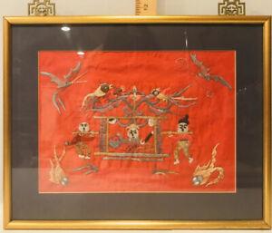 Asian EMBROIDERED Red SILK Silk  Textile Wedding ? Birds Framed Litter Chair