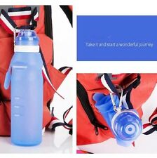 Outdoor Hiking Collapsible Folding Silicone Drink Water Bottle Kettle Cup 600ml