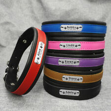 Personalised Soft eather Dog Collars Engraved Nameplate Brown Pink Blue Red M-XL