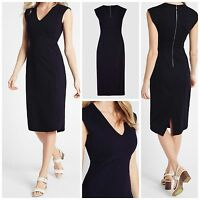 Ex M&S Marks and spencer NAVY BLUE bodycon Dress Work Shift Dress Size 8 - 20