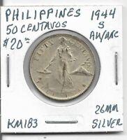Coin: Philippines, 50 Centavos, 1944 S, AU/UNC, KM 183, 26mm Silver, 20