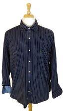 TAILORBYRD Long Sleeve Button Front BIRD LOGO Flip Cuff Blue Striped Shirt 2XL
