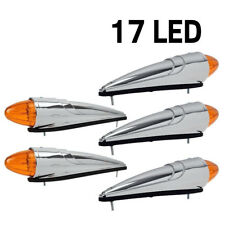5pcs 17LED Amber Chrome Torpedo Cab Marker Clearance Roof Running Top Lights 12v
