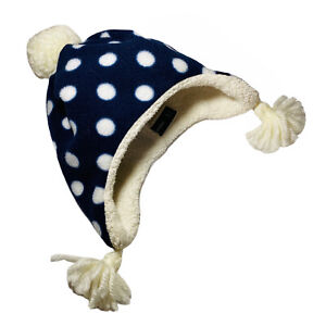 Baby Gap Toddler BabyGap Earflap Beanie Hat Blue With White Polka Dots  Size S/M