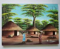 African Painting Vtg Orig Village Women working thatched huts E. Mbuya Folk Art