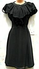 SIZE 12 WW2 40s 50s VINTAGE STYLE FRILL NECK BLACK EMO GOTH TEA DRESS US 8 EU 40