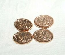 ANTIQUE EDWARDIAN 9CT 9K ROSE GOLD CUFFLINKS G H JOHNSTONE CIRCA 1919 ENGRAVED